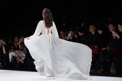 A model walks runway at the New York Life fashion show during MBFW Fall 2015 Stock Images