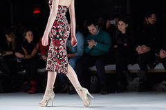A model walks runway at the New York Life fashion show during MBFW Fall 2015 Royalty Free Stock Photo