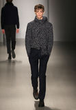 A model walks the runway at Orley fashion show during MBFW Fall 2015 Royalty Free Stock Image