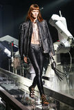 A model walks the runway during the Philipp Plein show Royalty Free Stock Photos