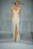 Model walks runway at the Prina Tornai Fall 2015 Bridal collection Royalty Free Stock Photography