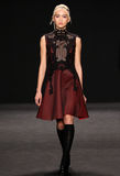 Model walks the runway at the Vivienne Tam fashion show during Mercedes-Benz Fashion Week Fall 2015 Stock Photo
