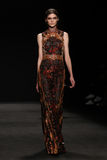 Model walks the runway at the Vivienne Tam fashion show during Mercedes-Benz Fashion Week Fall 2015 Stock Images