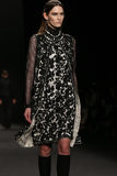 Model walks the runway at the Vivienne Tam fashion show during Mercedes-Benz Fashion Week Fall 2015. NEW YORK, NY - FEBRUARY 16: Model walks the runway at the royalty free stock photos