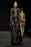Model walks the runway at the Vivienne Tam fashion show during Mercedes-Benz Fashion Week Fall 2015. NEW YORK, NY - FEBRUARY 16: Model walks the runway at the royalty free stock image