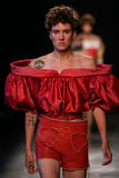 A model walks the runway during the Vivienne Westwood show as part of the Paris Fashion Week. PARIS, FRANCE - OCTOBER 01: A model walks the runway during the Royalty Free Stock Images
