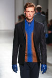 A model walks the runway wearing Perry Ellis Fall 2015 Stock Images