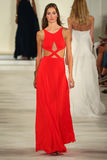 A model walks the runway wearing Ralph Lauren Spring 2016 during New York Fashion Week Stock Image