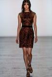 A model walks the runway wearing Tadashi Shoji Fall 2016 Fashion Show Stock Photography