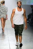 A model walks the runway during 2(X)IST Men's Spring/Summer 2016 Runway Show Royalty Free Stock Photo