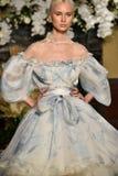 A model walks the runway at the YolanCris Fall 2017 Bridal collection show Stock Photos