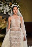 A model walks the runway at the YolanCris Fall 2017 Bridal collection show Royalty Free Stock Image