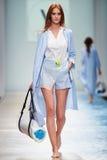 A model walks on the VICTORIA ANDREYANOVA catwalk Royalty Free Stock Photos