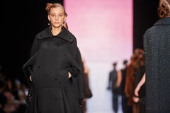 A model walks on the Viva Vox catwalk. FALL 2015 Royalty Free Stock Image