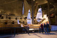 Model warship Vasa. Visitors looking at a model of Warship Vasa that sunk in 1628. The world famous Vasa museum in Djurgarden (Swedish: Djurgården) Stockholm stock image