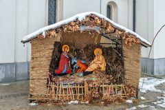 The model was born of Jesus Christ in front of the Orthodox Church royalty free stock image