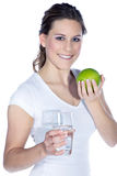 Model with water and apple Stock Photo