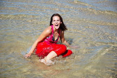 Model, water, fun! Royalty Free Stock Images