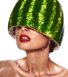 Model with water-melon on head Stock Photography