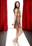 Model wearing animal print dress on the catwalk. Young European model wearing animal print dress on the catwalk Royalty Free Stock Image