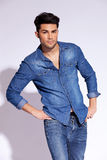 Model wearing a casual jeans shirt posing Stock Photo