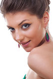 Model wearing colorful earrings Stock Photography