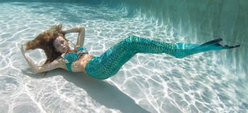 Beautiful young women in a swimsuit, or mermaids tail above and Stock Photo
