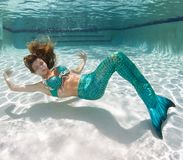 Beautiful young women in a swimsuit, or mermaids tail above and Stock Images