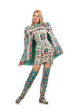Model wearing dress with Azerbaijani carpet elements isolated on Royalty Free Stock Photo