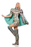 Model wearing dress with Azerbaijani carpet elements isolated on Royalty Free Stock Images