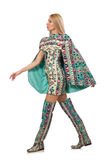 The model wearing dress with azerbaijani carpet elements isolated on Royalty Free Stock Photography
