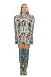 The model wearing dress with azerbaijani carpet elements isolated on Stock Photos