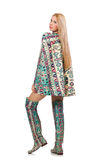 The model wearing dress with azerbaijani carpet elements isolated on Royalty Free Stock Photos