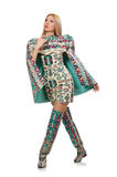 The model wearing dress with azerbaijani carpet elements isolated on Stock Image