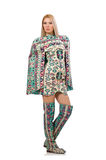 Model wearing dress with Azerbaijani carpet elements  on Royalty Free Stock Photography