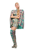 Model wearing dress with Azerbaijani carpet elements  on Stock Photography