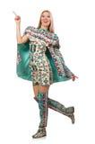 Model wearing dress with Azerbaijani carpet elements  on Royalty Free Stock Photo