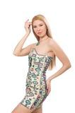 Model wearing dress with Azerbaijani carpet elements  on Stock Photo