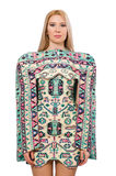 Model wearing dress with Azerbaijani carpet elements  on Royalty Free Stock Image
