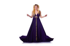 Model wearing fashionable clothing isolated on. Girl in violet dress isolated on white Royalty Free Stock Image