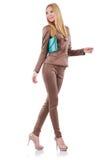 Model wearing fashionable clothing. On white Royalty Free Stock Photo