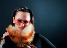 Model wearing fur scarf Stock Photo