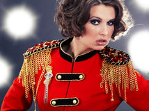 Model wearing glamour uniform Stock Photography