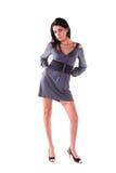 Model wearing grey dress. Royalty Free Stock Photo