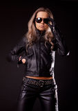 Model wearing leather clothes Royalty Free Stock Photo
