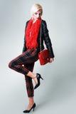Model wearing leather jacket Royalty Free Stock Photography