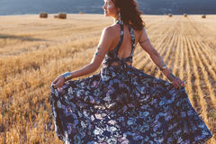 Model wearing maxi dress outdoors Royalty Free Stock Images