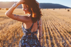 Model wearing maxi dress outdoors Royalty Free Stock Image