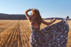 Model wearing maxi dress outdoors Royalty Free Stock Photos