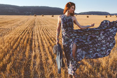 Model wearing maxi dress outdoors Royalty Free Stock Photography